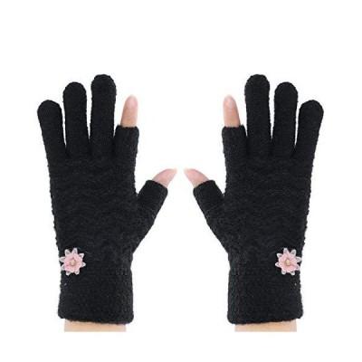 レディース手袋 おしゃれ フリース手袋 5本指 親指 人差し指なし スマホ タッチパネル対応 小花 デザイン 可愛?