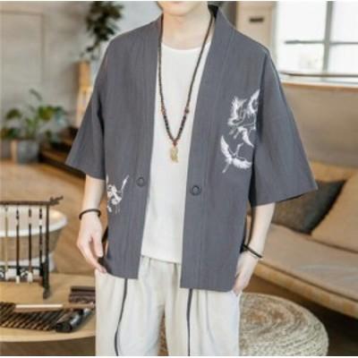 カーディガン 麻綿 ワイシャツ メンズ 夏 ゆったり コーディガン 薄手 シャツ メンズ 七分袖 羽織 通気 トップス 和式パーカー おしゃれ