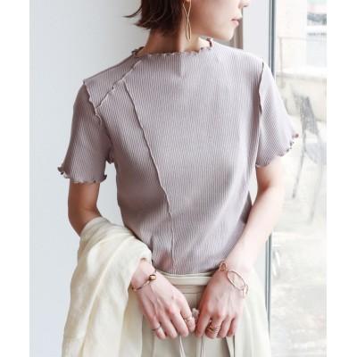 (and Me.../アンドミー)テレコリブ半袖メローデザインTシャツ/レディース グレージュ