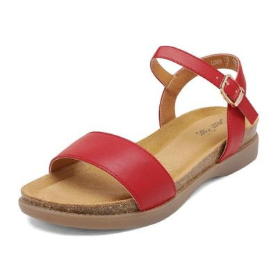 レディース 靴 サンダル DREAM PAIRS Women's Summer Sandals Open Toe Ankle Strap Buckle Flat Sandals RED LUNNA size 5