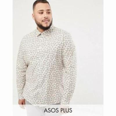 エイソス シャツ Plus smart stretch slim floral ditsy shirt White