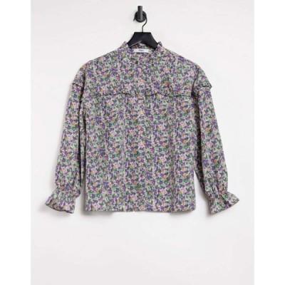 オンリー Only レディース ブラウス・シャツ トップス shirt with frill collar in pastel floral フローラル