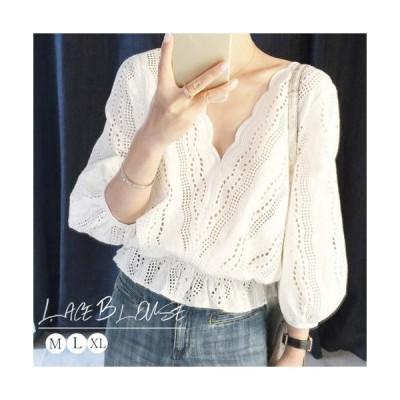 スカラップ レースブラウス レディース Vネックシャツ パフスリーブ ウエストゴム Mサイズ Lサイズ XLサイズ ホワイト