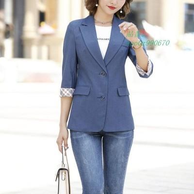 7分袖 ジャケット レディース 夏 テーラードジャケット 通勤 黒 サマージャケット 大きいサイズ オフィス 白 OL スーツジャケット ピンク