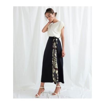 【Settimissimo】 サイドスカーフ柄ラップスカート