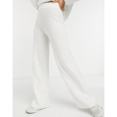 エイソス ASOS DESIGN レディース ボトムス・パンツ ワイドパンツ Co-Ord Wide Leg Trouser In Rib In Cream クリーム