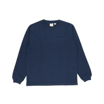 【バックヤードファミリー】 Goodwear 2w7 8518 袖リブ ポケット付き ロングTシャツ メンズ ネイビー Sサイズ BACKYARD FAMILY