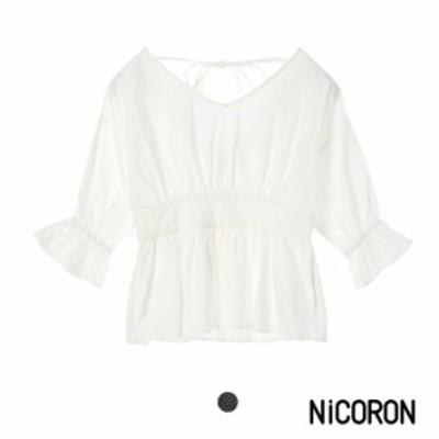 レディース トップス 半袖 5分袖 無地 ブランド おしゃれ キャンディスリーブ NiCORON ニコロン セール 送料無料