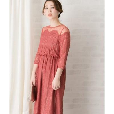 ドレス troisiemechaco ドットチュール×パネルレースドレス