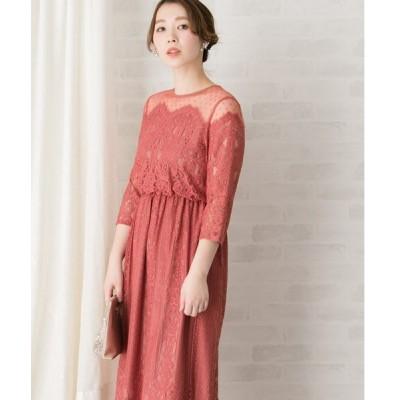 ドレス Chaco ドットチュール×パネルレースドレス