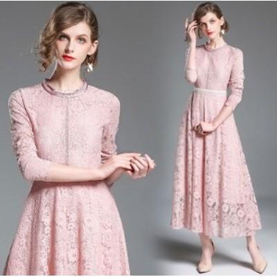 韓国 ワンピース ドレス レディース フラワー柄 ピンク 袖あり レース ウエストマーク フレア ロングドレス