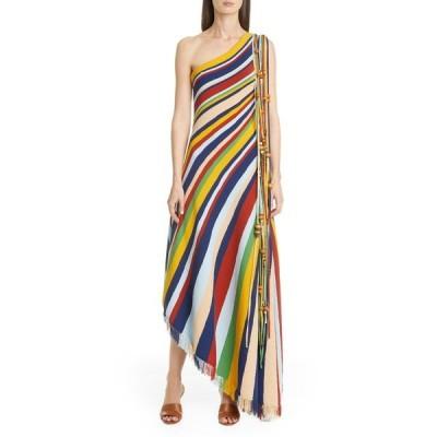 オスカー デ ラ レンタ ワンピース トップス レディース Tassel One Shoulder Asymmetrical Maxi Dress Multi