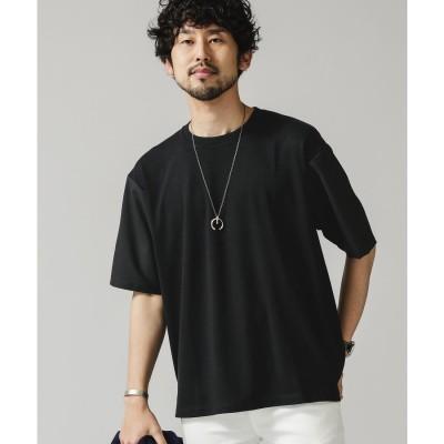 布帛ドッキングビッグTシャツ ブラック