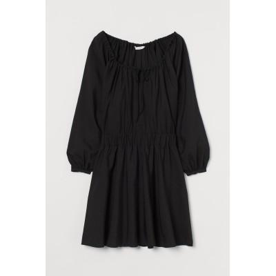 H&M - リヨセルブレンドワンピース - ブラック