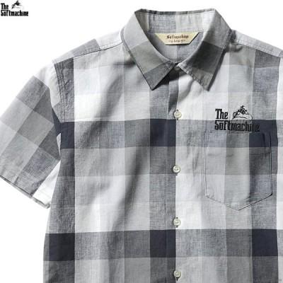 ソフトマシーン SOFTMACHINE TWEEDY SHIRTS S/S (BLACK) メンズ 半袖シャツ チェック ブラック