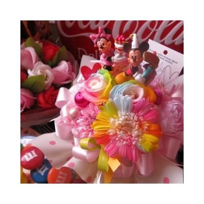 お誕生日 レインボーローズ2 レインボーガーベラ1 花束風 ミッキーミニー入り プリザーブドフラワー入り ギフト ケース付