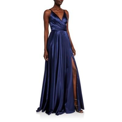 ファビアーナ レディース ワンピース トップス V-Neck Pleated Bodice Lace-Up Charmeuse Gown
