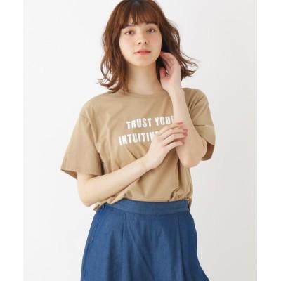 SHOO・LA・RUE/Cutie Blonde(シューラルー) 【S-L/洗える/抗菌防臭/部屋干し対応】フロントロゴスリットTシャツ