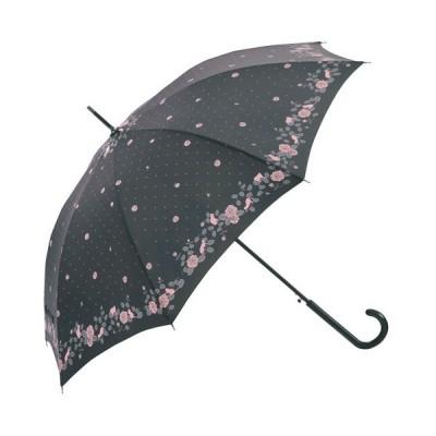 耐風・撥水ジャンプ傘 レディース ブラック 婦人傘 雨傘 8本骨 グラスファイバー 直径103cm バラ