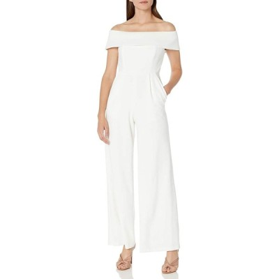 Calvin Klein Women's Off The Shoulder Jumpsuit with Folded Collar, Cream, 4