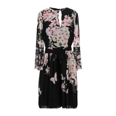 ツインセット シモーナ バルビエリ TWINSET ミニワンピース&ドレス ブラック 38 レーヨン 100% ミニワンピース&ドレス