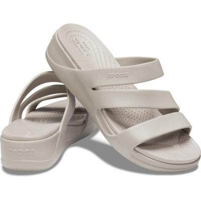 [クロックス公式] ウェッジソール クロックス モントレー ストラッピー ウェッジ ウィメン レディース、ウィメンズ、女性用 ホワイト/白 21cm,22cm,23cm,24cm,25cm Women's Crocs Monterey Strappy Wedge
