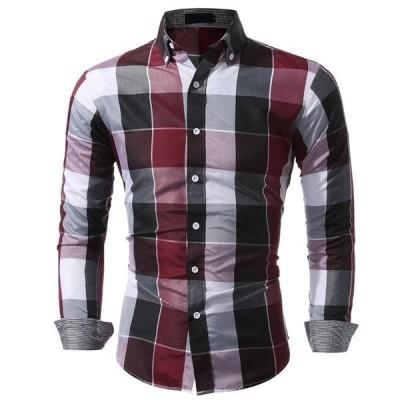 【セール】長袖シャツ メンズ チェック柄 SI シャツ 配色 ビジネス スリム トップス 大きいサイズ 新作