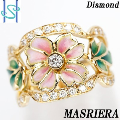 マリエラ ダイヤモンド リング K18イエローゴールド 七宝 エナメル 花 フラワー 中古 SH52756