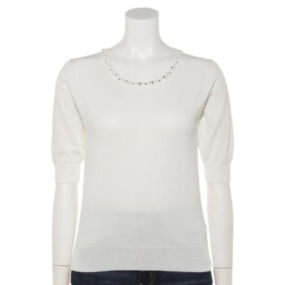 INTERPLANET (インタープラネット) レディース 衿装飾5分袖天竺プルオーバー オフホワイト M