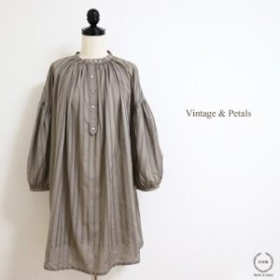Vintage&Petals (ヴィンテージ アンド ペタルス) 透かし模様のギャザースモック