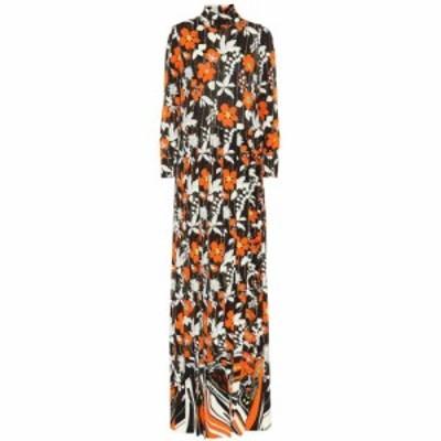 プラダ Prada レディース ワンピース マキシ丈 ワンピース・ドレス Turtleneck floral maxi dress Orange