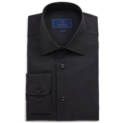 デイビッドドナヒュー メンズ シャツ トップス David Donahue Trim Fit Solid Dress Shirt