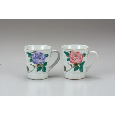 九谷焼 ペアマグカップ バラ かわいい コップ  マグ コーヒー おしゃれ 誕生日 プレゼント 古希 喜寿 祝い 両親 結婚祝い 引越し祝いギフト