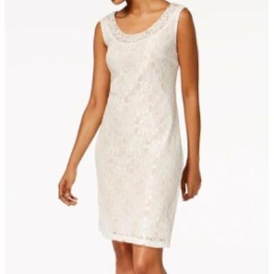 ファッション ドレス R&M Richards NEW White Ivory Womens Size 6 Embellished Sheath Dress