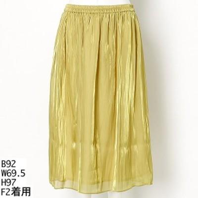 ラクープ(LACOUPE)/【大きいサイズ】上品な光沢感ギャザースカート