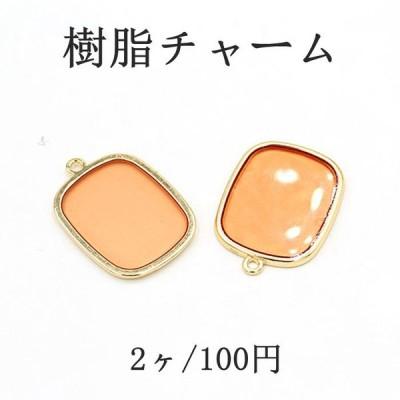 アクセサリーチャーム  樹脂チャーム  パーツ オレンジ カン付き 約20.5mmx29mm 【2個入り】