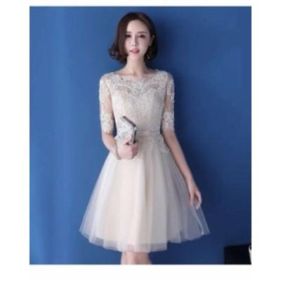 パーティードレス 春夏 結婚式 大きいサイズ 30代 ひざ丈 半袖 袖あり ラウンドネック レース 花柄 刺繍 Xライン 透け感 フェミニン