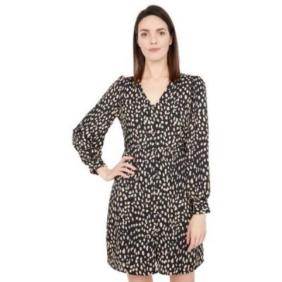 ユニセックス スカート ドレス 3/4 Sleeve Animal Reset V-Neck Button-Down Dress