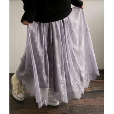 【オシャレウォーカー】 『スカラップレースギャザースカート』 レディース グレー フリーサイズ osharewalker