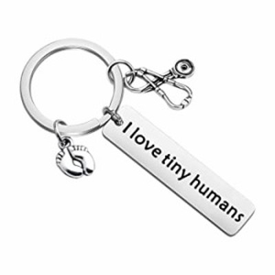 Gzrlyf Nicu Nurse Keychain Gifts I Love Tiny Humans Labor and Delivery Nurse OBGYN Gifts for Doctors Midwife (I Love Tiny Humans