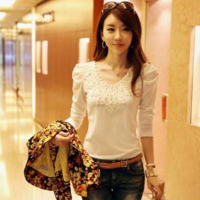 レディース 花柄 刺繍 カットソー トップス パフスリーブ ラウンドネック 長袖 シンプル プチプラ トレンド 白 ホワイト XLサイズ