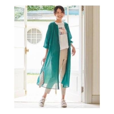 シューラルー SHOO-LA-RUE 【M-3L】綿シフォンワンピース (ダークグリーン)