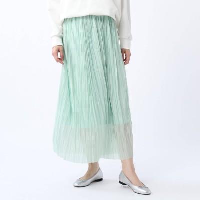 アンタイトル UNTITLED 【洗える】シアープリーツスカート (ライトグリーン)