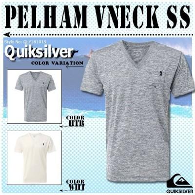 クイックシルバー Tシャツ メンズ UPF30+ 半袖  かっこいい 人気 白 灰 ブランド オリジナル デザイン 夏 海 PELHAM VNECK SS QUIKSILVER QLY181019