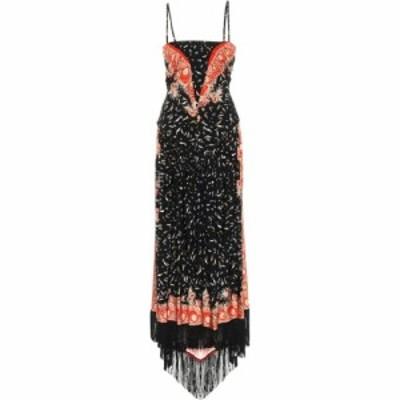 パコラバンヌ Paco Rabanne レディース ワンピース ミドル丈 ワンピース・ドレス Fringed Stretch-Jersey Midi Dress Orange Black
