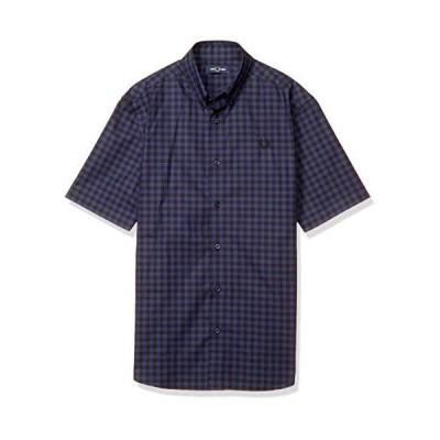 [フレッドペリー] 半袖シャツ 2 COLOUR GINGHAM SHIRT M8569 メンズ 266_CARBON BLUE UK S (日本サイズM相当)