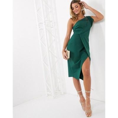 ラビッシュアリス レディース ワンピース トップス Lavish Alice one shoulder cutout midi wrap dress in emerald green Emerald green