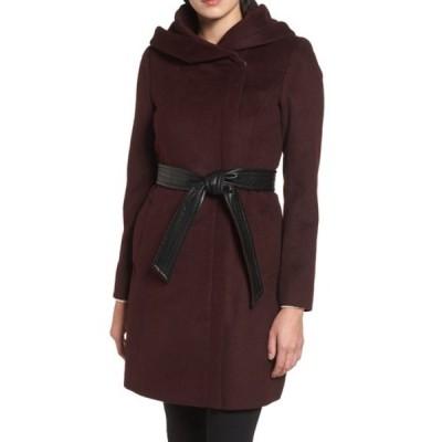 コールハーン レディース ジャケット&ブルゾン アウター Hoodied Tie Waist Wool Blend Coat BORDEAUX
