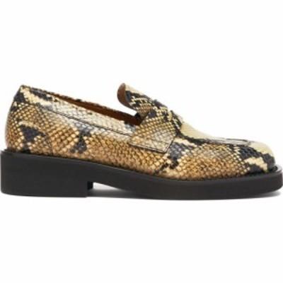 マルニ Marni レディース ローファー・オックスフォード スクエアトゥ シューズ・靴 Square-toe python-effect leather penny loafers Be