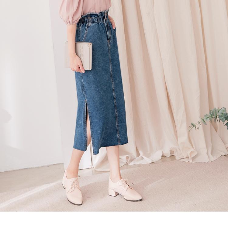 高含棉側開衩A-LINE牛仔裙